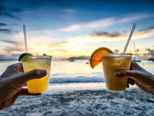 Margarita cocktail drinks at sunset on the beach