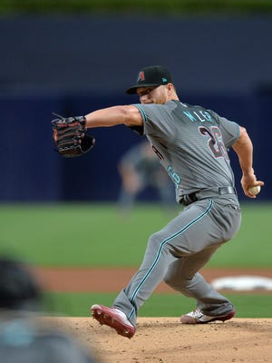 Apr 18, 2017: Arizona Diamondbacks starting pitcher Shelby Miller (26) pitches during the first inning against the San Diego Padres at Petco Park.
