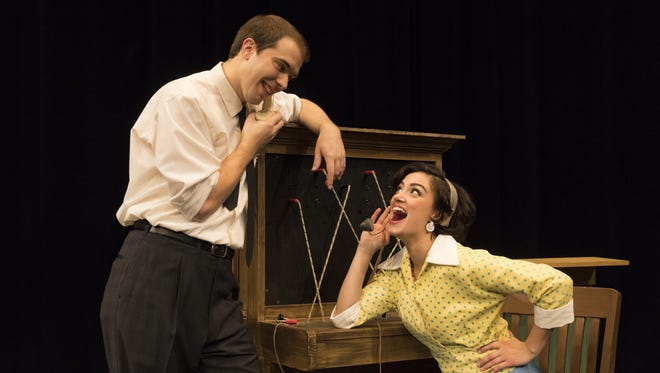 """The cast of """"Bells Are Ringing"""" at Binghamton University includes Danielle Nigro as Ella Peterson and Jeff Tagliaferro as Jeff Moss."""