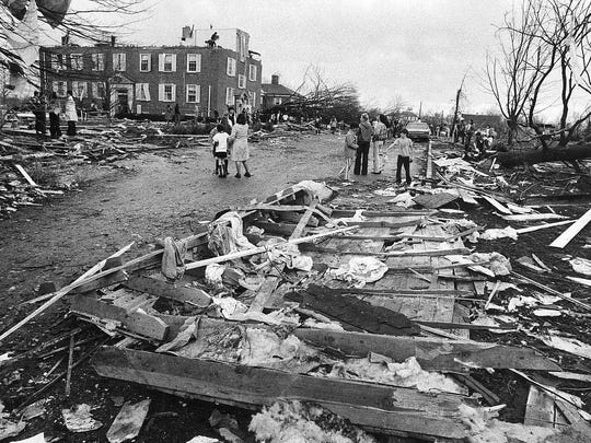 The tornado left a trail of wreckage on the Hanover College campus in 1974. Hostetler's developing subdivision took the brunt of the hit.