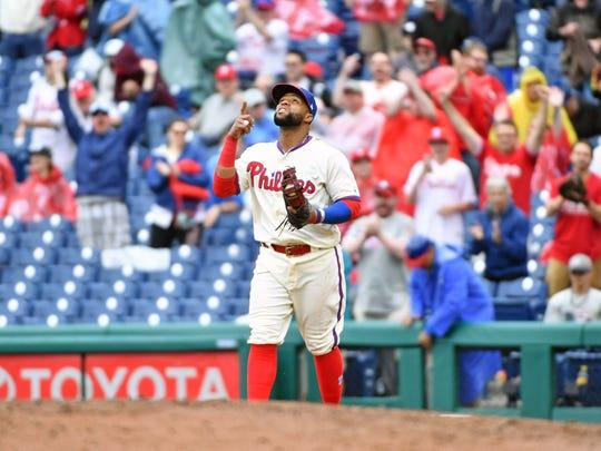 Jun 10, 2018; Philadelphia, PA, USA; Philadelphia Phillies first baseman Carlos Santana (41) celebrates win against the Milwaukee Brewers at Citizens Bank Park. Mandatory Credit: Eric Hartline-USA TODAY Sports