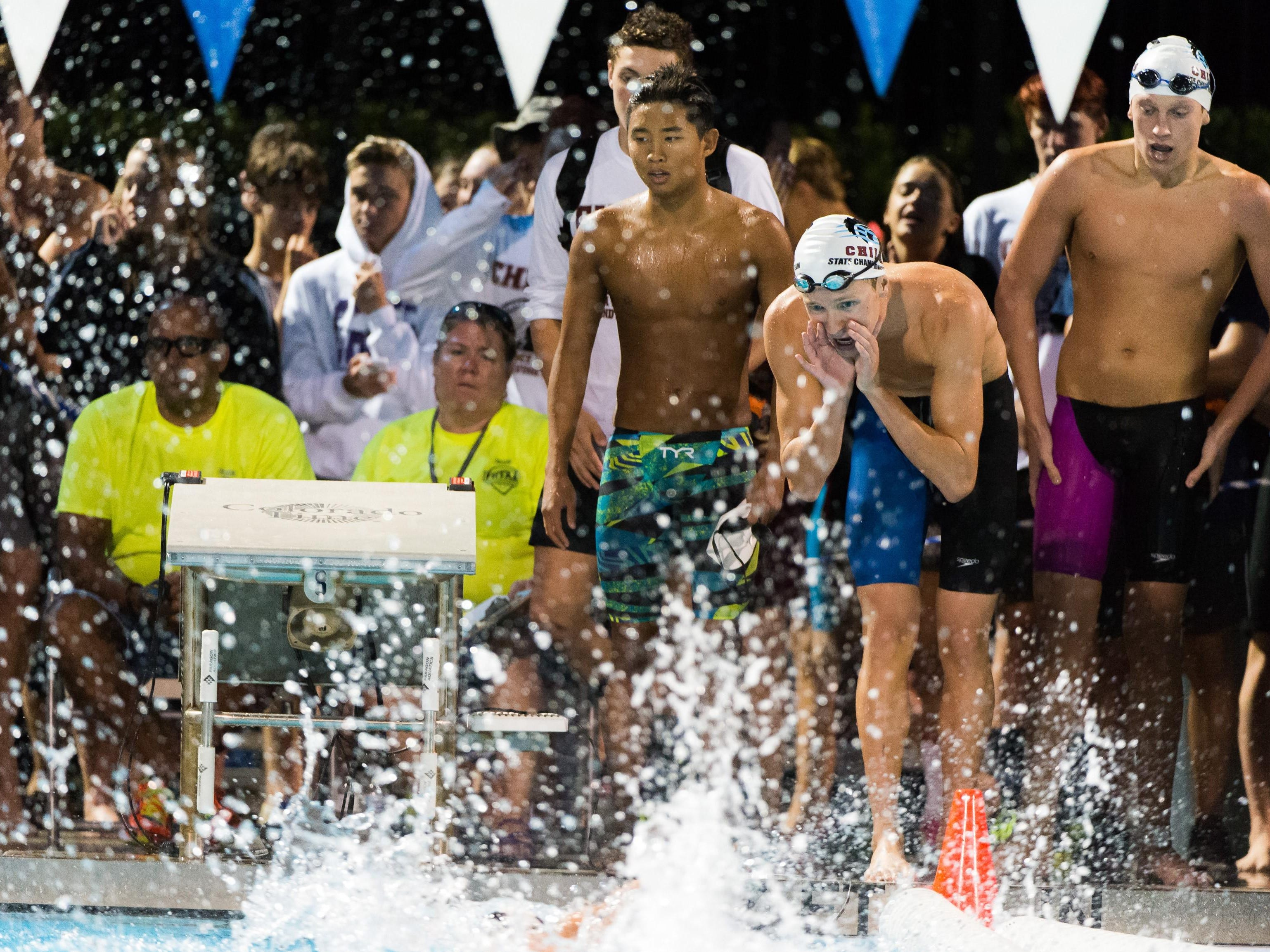 Chiles sophomore John Yambor-Maul cheers on teammates during a relay. The Timberwolves' boys team finished fifth as a team during the state finals.