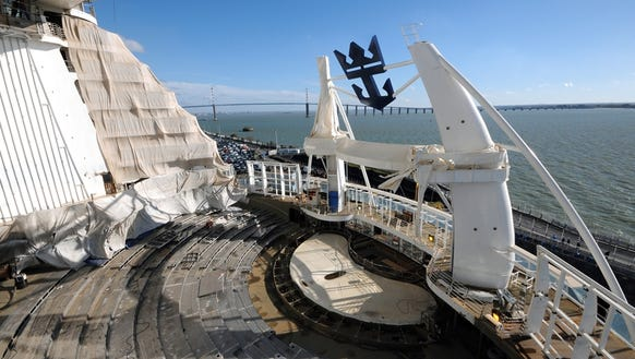 Harmony of the Seas' AquaTheater, which is currently