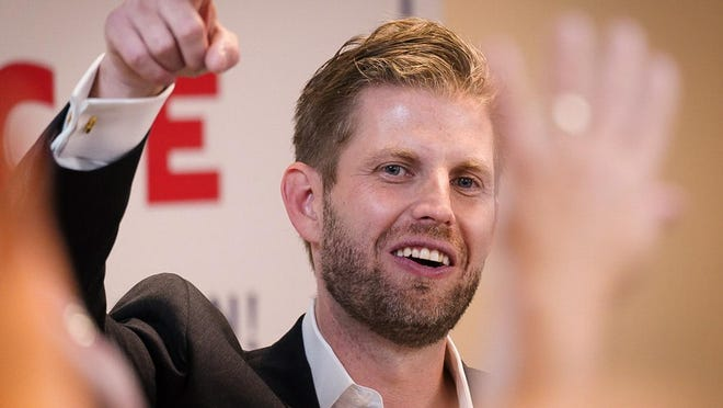 Eric Trump campaigns for his father Thursday in Portsmouth.