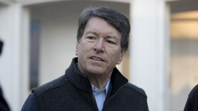 John Faso talks with the media voting Nov. 8 in Kinderhook, New York. Faso won the 19th Congressional District seat.