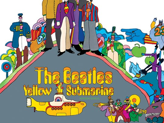 """The album cover for """"Yellow Submarine"""" from the Beatles."""