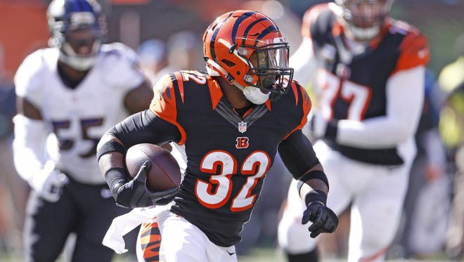 Bengals running back Jeremy Hill will likely get the bulk of the carries Sunday against Jacksonville.