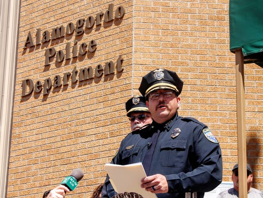 Alamogordo Chief of Police Daron Syling gave a briefing