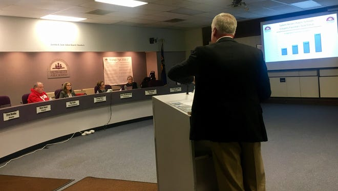 Michael Wolfe with the Salem-Keizer School District started the presentation of the Citizen's Facilities Task Force recommendations at the district's board meeting on Tuesday, March 14, 2017.