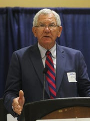 State Sen. Jim Fannin, R-Jonesboro, speaks at an annual luncheon for the northeast Louisiana legislative delegation hosted by the Monroe Chamber of Commerce in Monroe, Thursday, July 13, 2017.