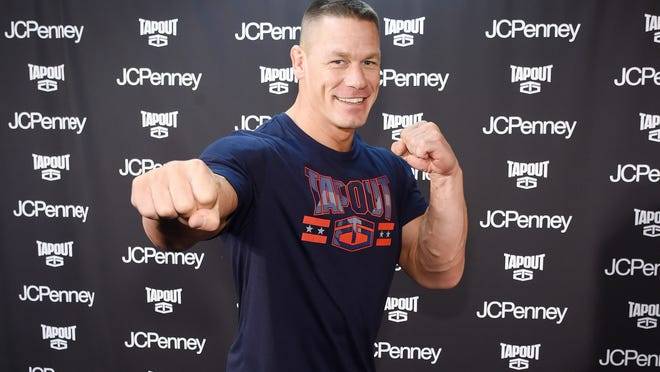 NEW YORK, NY - JANUARY 23:  John Cena stops by the newest Tapout Fitness location in Herald Square to talk fitness and share his favorite looks from the Tapout fitness apparel collection available at JCPenney on January 23, 2017 in New York City.  (Photo by Jamie McCarthy/Getty Images for JCPenney) ORG XMIT: 693742595 ORIG FILE ID: 632495138