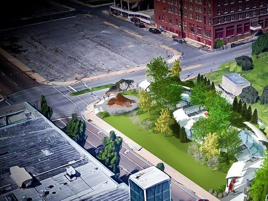 Rendering of landscape architect John Jackson's design of City of Memphis' MLK Reflection Site