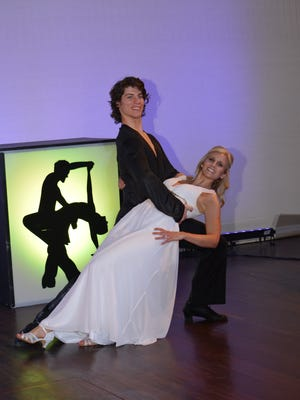 Christine Collier Clair and her partner from the Utah Ballroom Dance Company at Dancing with the Salem Stars on Saturday, March 10, at the Elsinore Theatre.