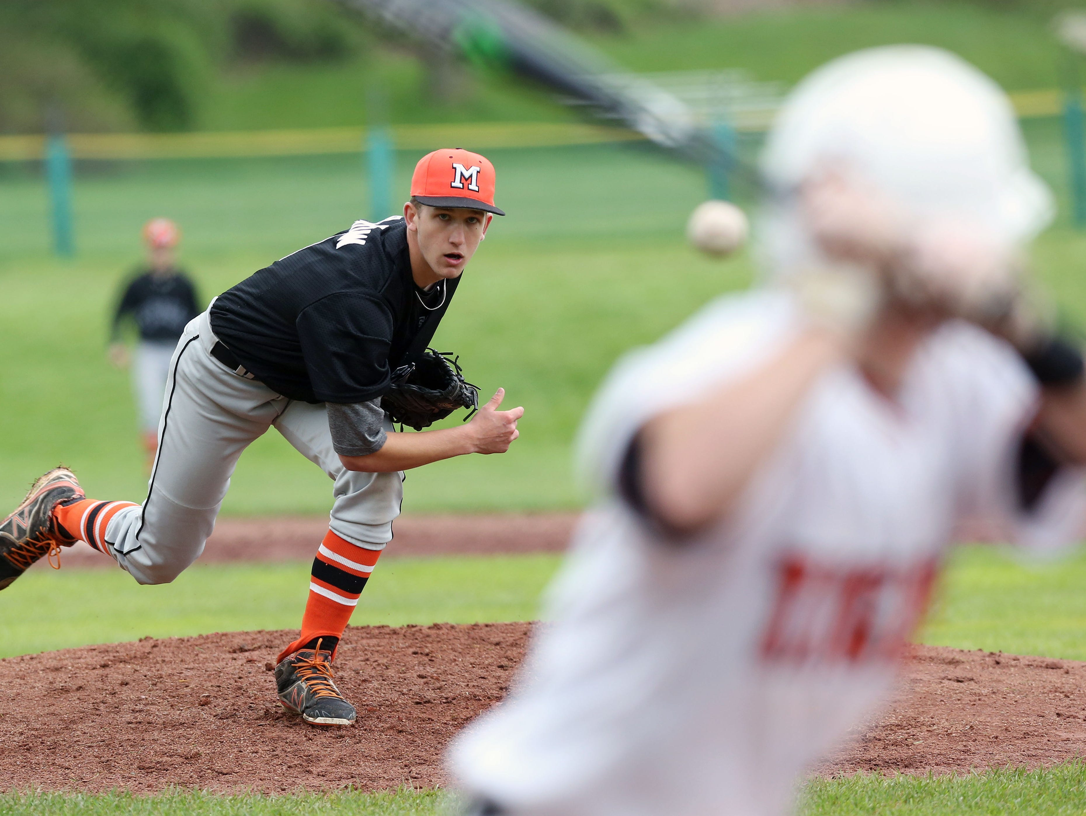 Mamaroneck's Bill Flatow pitching against White Plains during a baseball game at White Plains High School May 7, 2016. Mamaroneck won the game 6-5.