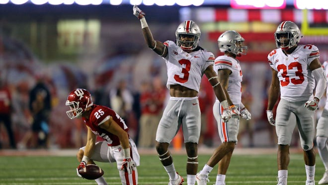 Aug 31, 2017; Bloomington, IN, USA; Ohio State Buckeyes cornerback Damon Arnette (3) reacts after making a tackle against Indiana Hoosiers wide receiver Luke Timian (25) in the second half at Memorial Stadium. Mandatory Credit: Aaron Doster-USA TODAY Sports