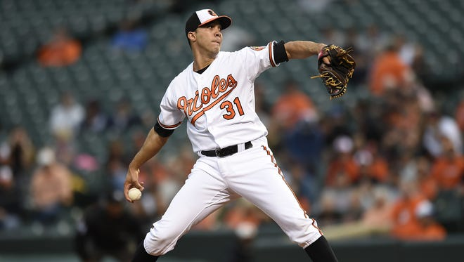 Baltimore Orioles pitcher Ubaldo Jimenez delivers against the Detroit Tigers in the first inning.