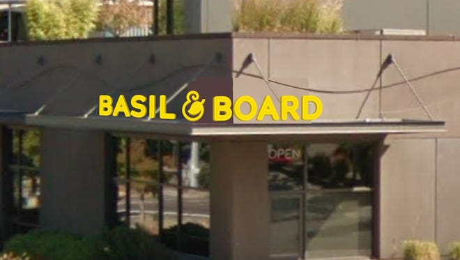 A mock-up of signage for Basil & Board, a new restaurant set to open in Fall 2018.