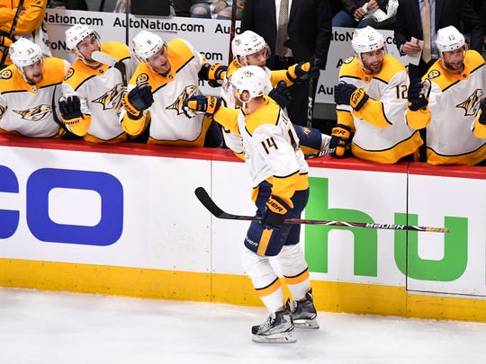 Nashville Predators defenseman Mattias Ekholm (14) celebrates his goal during the first period of game 6 in the first round NHL Stanley Cup Playoffs at Pepsi Center, Sunday, April 22, 2018, in Denver, Colo.