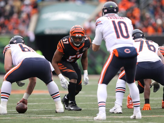 Cincinnati Bengals outside linebacker Vincent Rey (57) gets set on the line of scrimmage during the Week 14 NFL game between the Chicago Bears and the Cincinnati Bengals, Sunday, Dec. 10, 2017, at Paul Brown Stadium in Cincinnati. Chicago won 33-7.