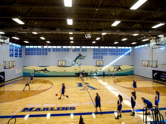 Port Aransas girls basketball team practices in their newly refurbished gym on Wednesday, Jan. 10, 2018 in Port Aransas