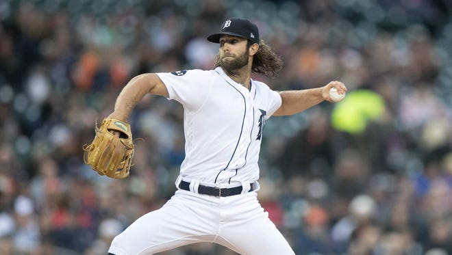 Tigers pitcher Daniel Norris throws against the Rangers during the first inning Friday at Comerica Park.