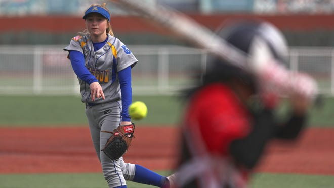 Anderson pitcher, Regan Dias, pitches Friday in an 8-0 win over Corning. Dias is one of five players to keep an eye on this softball season.