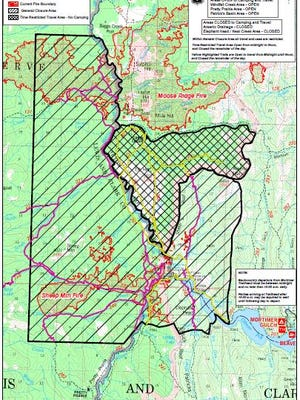 Closure areas due to fires.