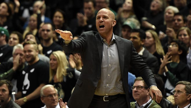 Bucks coach Jason Kidd reacts to an official's call during Game 3 of the first-round playoff series between Milwaukee and Toronto on April 20 at the BMO Harris Bradley Center.