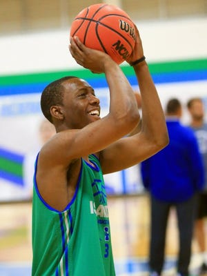 Texas A&M-Corpus Christi junior Joseph Kilgore warms up for practice at the Athletic Field House. Kilgore scored 31 points in Wednesday's win at UTRGV.