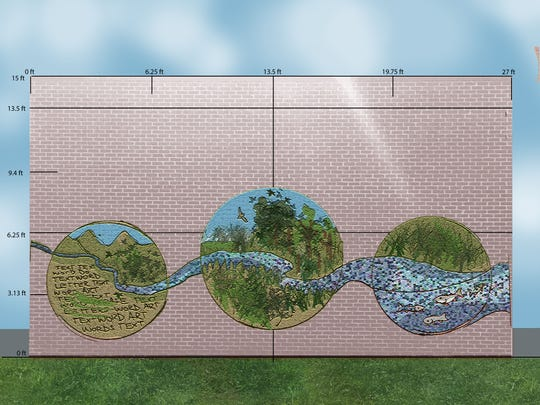 The mural will feature a stream running through three circles depicting buffer plants.
