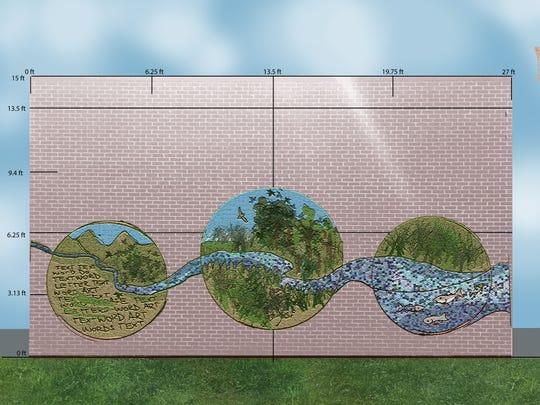 The mural will feature a stream running through three