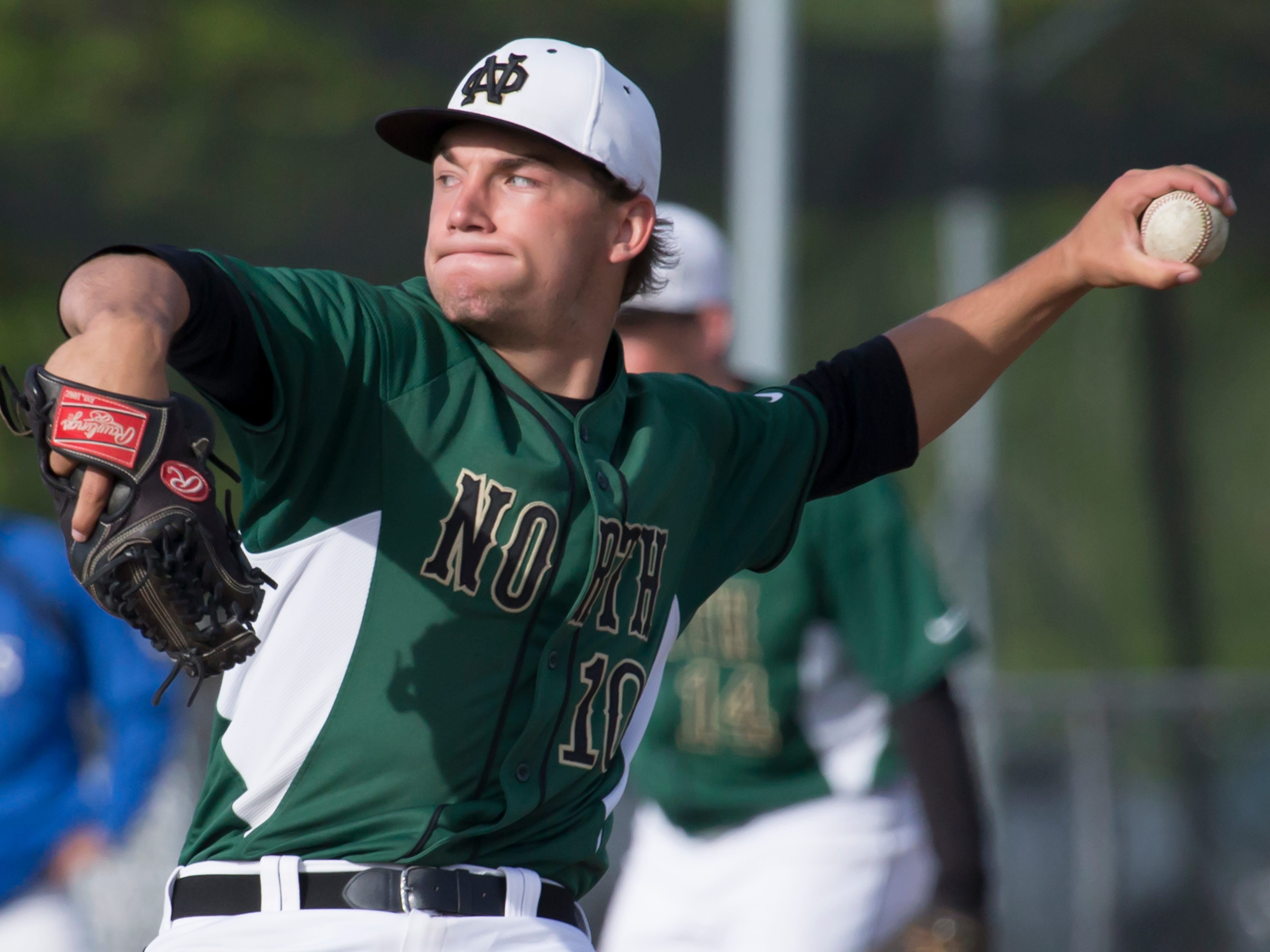 Oshkosh North's Alex Hintze pitched a no-hitter Tuesday, striking out 12 with five walks.