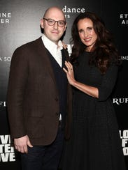 Russell Harbaugh and Andie MacDowell attend a special