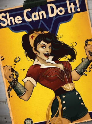 Wonder Woman shows some retro spunk and chain-breaking power on one of the variant covers in June based on the DC Collectibles Bombshells line.