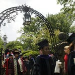 Graduates pass through the archway on the grounds of Olde Queens during the Rutgers University Two Hundred and Forty-first Anniversary Commencement Wednesday, May 16, 2007 as they head towards Voorhees Mall in New Brunswick.      JODY SOMERS/STAFF PHOTOGRAPHER/HOME NEWS TRIBUNE  Metro 43611