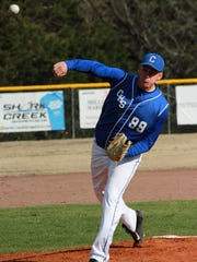 Cotter's Justin Few delivers a pitch against Mammoth