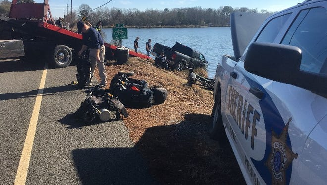 A truck is recovered from Cross Lake after its driver fell asleep at the wheel.