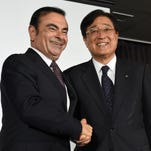 Carlos Ghosn, CEO of Renault-Nissan speaks to the media, Monday, at the Beijing Auto Show