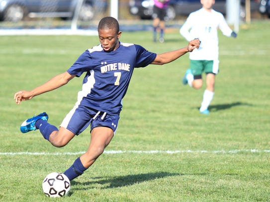 Notre Dame's Rocco Coulibaly leads the attack during
