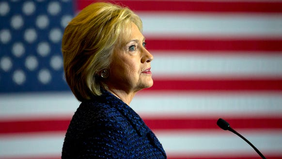 Hillary Clinton speaks during a rally on the campus