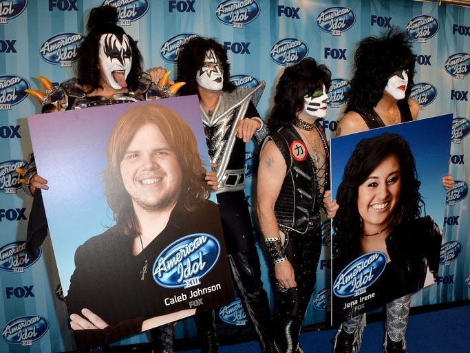 "LOS ANGELES, CA - MAY 21:  (L-R) Musicians Tommy Thayer, Gene Simmons, Eric Singer, and Paul Stanley of Kiss pose in the press room during Fox's ""American Idol"" XIII Finale at Nokia Theatre L.A. Live on May 21, 2014 in Los Angeles, California.  (Photo by Frazer Harrison/Getty Images)"
