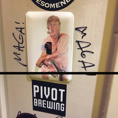 Nude Donald Trump painting at Against the Grain getting jeers and cheers