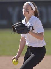 Plymouth sophomore Jenny Bressler sends a pitch on