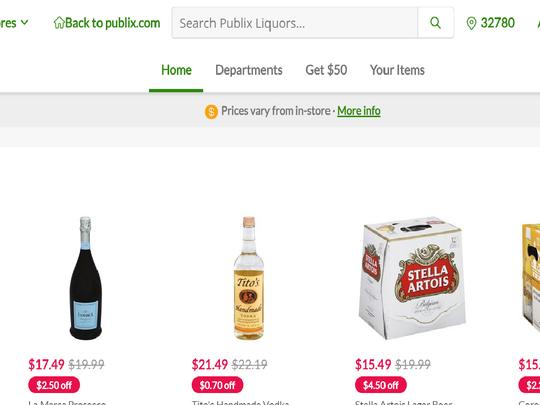 A screenshot of the Publix Instacart liquor selections.