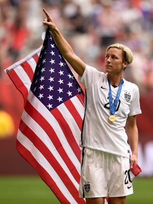 United States forward Abby Wambach celebrates after the team's 5-2 win over Japan in the FIFA Women's World Cup final at BC Place Stadium on July 5, 2015 in Vancouver, Canada.