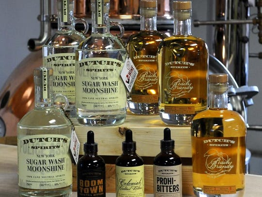 A sampling of Dutch's Spirits products that will be produced at Harvest Homestead Farm in Pine Plains.
