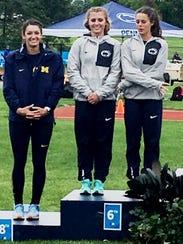 Plymouth High grad Sarah Uhlian (left) placed eighth