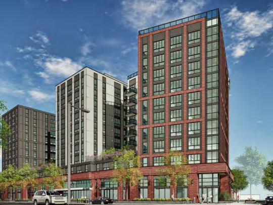 A rendering of a proposed mixed-use building on the