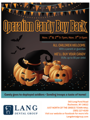 Lang Dental Group, in Greece will hold a candy buy back Nov 1-3, at 543 Long Pond Road.