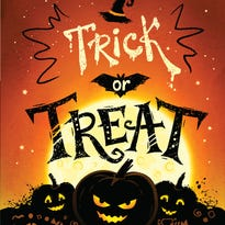Trick or Treat Halloween poster with pumpkins, full moon and candies.